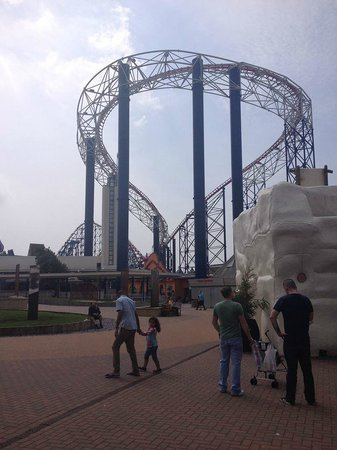 Blackpool Pleasure Beach: Rollercoaster view from entrance!
