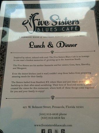 Five Sisters Blues Cafe Menu