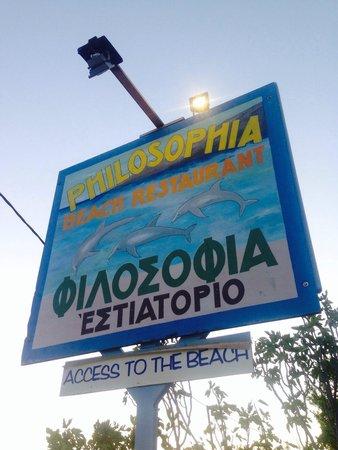 Philosophia Beach Restaurant: Philosophia sign
