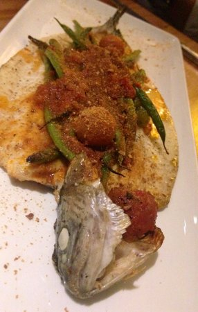 Bucato: Idaho Trout stuffed with string beans 'all' arrabiata', breadcrumbs