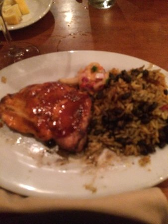 Hemingway's Island Grill: Salmon Steak with Beans and Rice