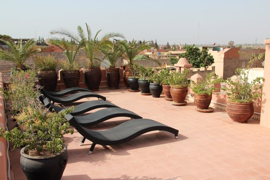 Riad Shemsi: The upper roof terrace looking towards the main square