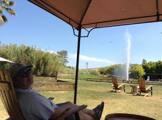 Old Faithful Geyser of California: Relaxing in the shade in a great Adirondack chair!