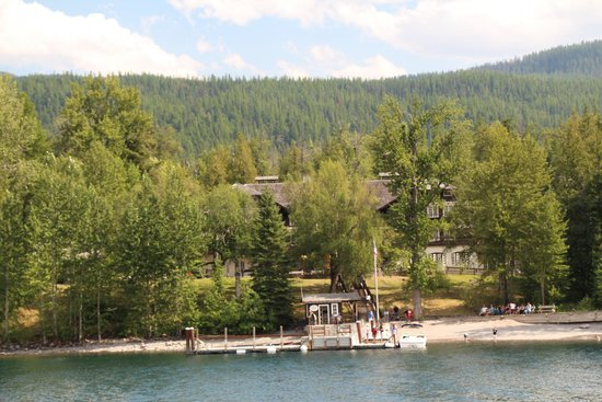 Lake McDonald Lodge: View of the lodge from the lake