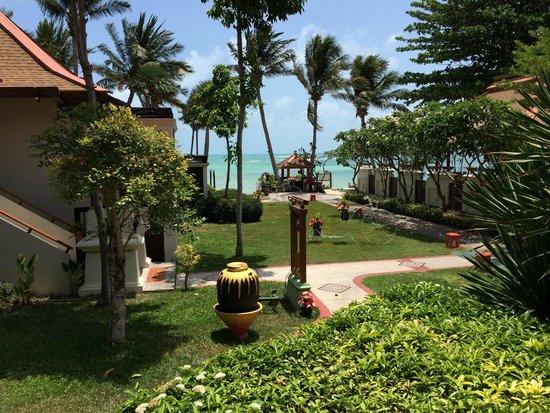 The Briza Beach Resort Samui : 前方左側ビーチサイドがプール付きビラ