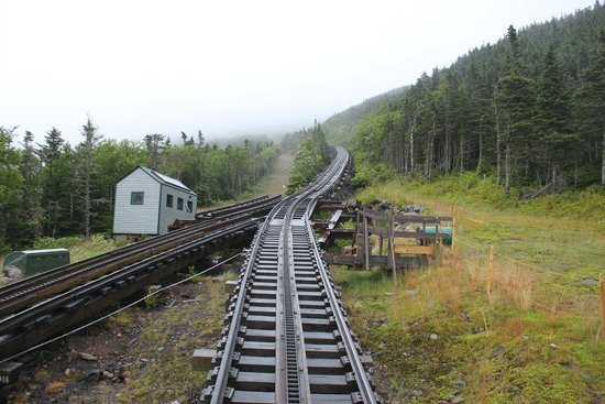 The Mount Washington Cog Railway : looking up the mountain
