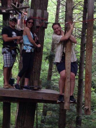 Adirondack Extreme Adventure Course: Clinging for dear life, hahaha!