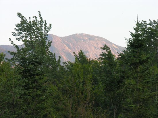 Johns Brook Lodge: Gothics (4,734 ft (1,443 m); 10th highest Adirondack peak), from the porch in the evening,