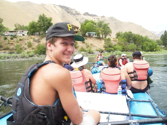 Salmon River Challenge- SRC: Our guide Ben, piloting our boat