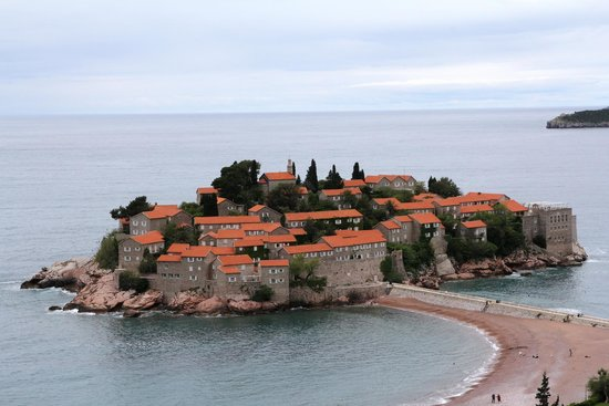 Vila Drago : Island of Sveti Stefan at daytime, from Room 4