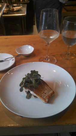 Cooks' House: Fresh whitefish with red kidney beans and eucalyptus sprouts.