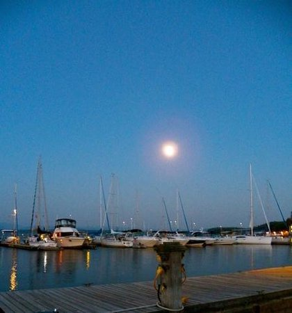 The Galley: later evening w large full moon, from the Marina.