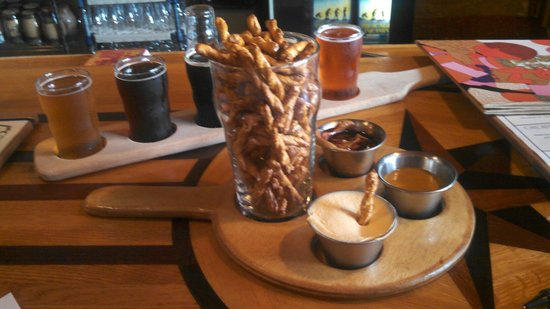 Short's Brewing Company: 'Tear for Eddie' pretzels with beer mustard, Soft Parade jelly & peanut butter, and beer cheese