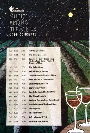 Alto Vineyards and Winery: Saturday Evening Bands - 2014