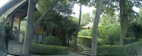 Pura Vida Resort: View of registration hut (in the left margin) and bungalow to the right