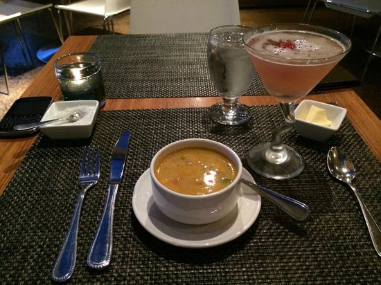 Bite: Chicken Coconut Curry Soup and Raspberry Cocktail