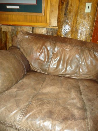 Shore Acres Lodge: stained couch