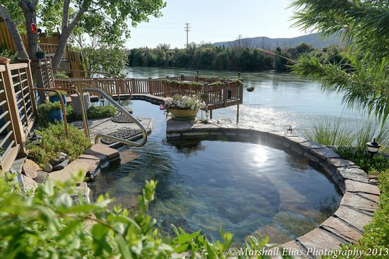 Riverbend Hot Springs: Community Pool With View Of Rio Grande River Looking East