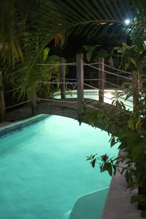 Rondel Village: beach side pool at night