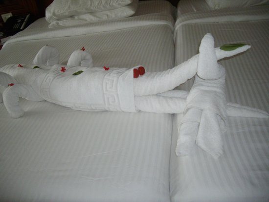 Xperience Sea Breeze Resort: One of the many towel art creations
