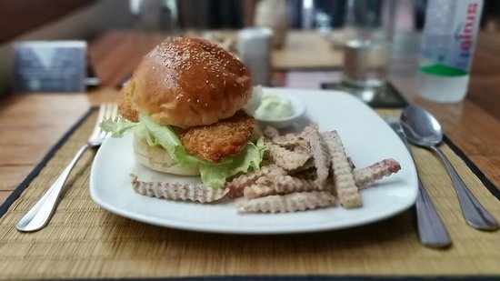 New Leaf Book Cafe: Breaded Chicken Sandwich with Taro Fries