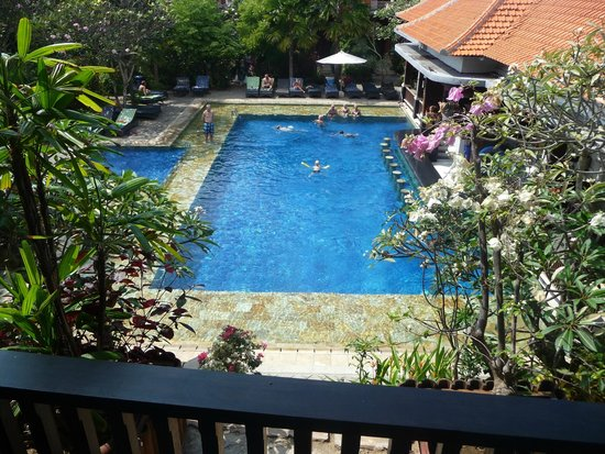 Swastika Bungalows: View of main pool from Deluxe Room Balcony