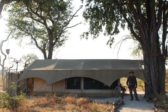 Great Plains Conservation Selinda Explorers Camp: Our tent with our large bucket shower.
