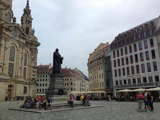 Frauenkirche: monument of Martin Luther