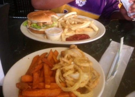 Frog City Travel Plaza Restaurant: Alligator Burger with fries, Sweet Potato fries and Onion rings
