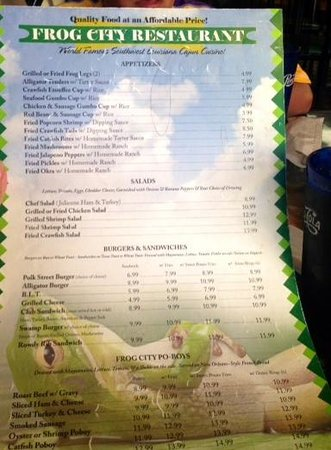 Frog City Travel Plaza Restaurant: Menu side 1