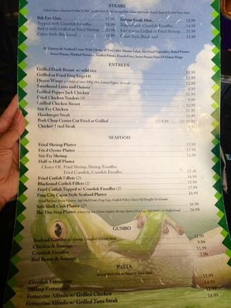 Frog City Travel Plaza Restaurant: Menu side 2 (top of the menu listing the steaks is cut-off though trying to post on here)