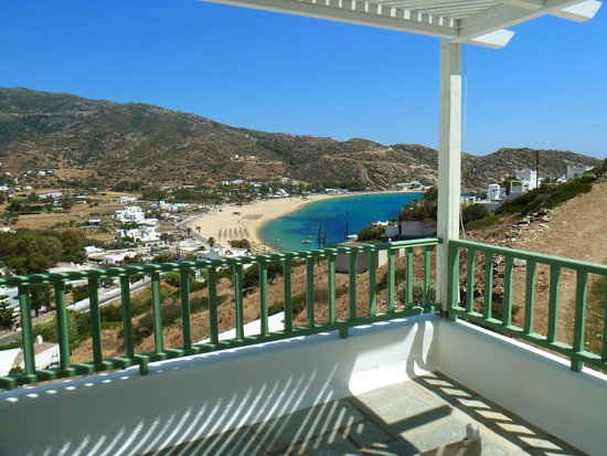 Mylopotas Beach: View from our balcony at Levantes Boutique hotel