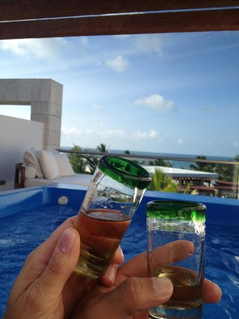 Excellence Playa Mujeres: Cheers! To our vacation! From rooftop