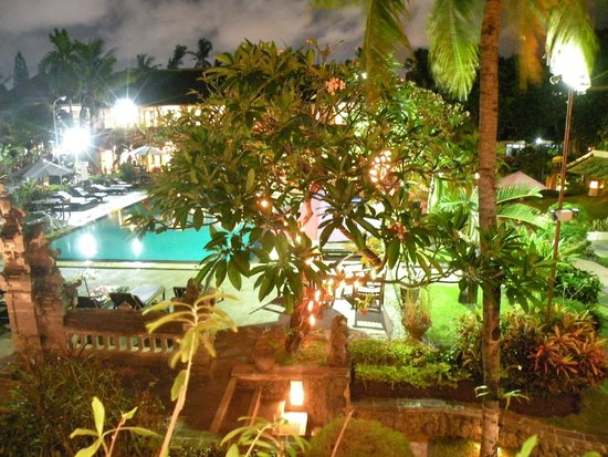 Satriya Cottages: Pool from our balcony at night