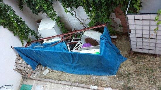 Truva Family Club: dump outside balcony