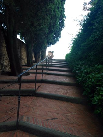 Castello Vicchiomaggio: The stairway to the restaurant and castle