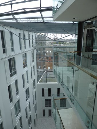 Scandic Ornen: View into the Atrium from room 902.  The Lift Balcony is visible on the right