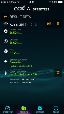 InterContinental Dusseldorf: miserable internet speed just around dial-up speed from 1994