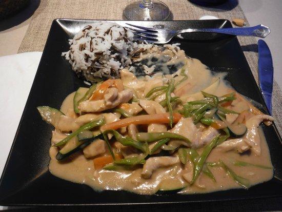 Hotel Ses Figueres: pollo al curry verde con riso