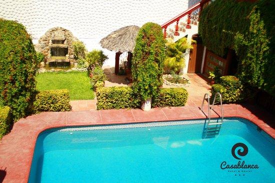 Alberca y jard n con fuente picture of hotel casa for Casas con jardin enfrente