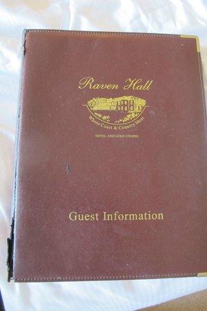 Raven Hall Hotel: Shabby guest information folder
