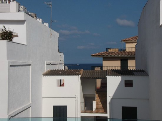 Hotel Cala Bona: View from room 331 (hotel building behind sea front one)