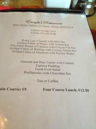 Enright's Restaurant: best value menu in Ireland - IMHO