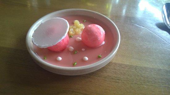 Restaurant Jean Sulpice: Pré-dessert raffiné : rhubarbe et blanc manger d'amande