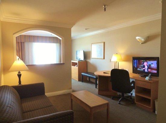Best Western Plus Anaheim Orange County Hotel: Executive King Jr. Suite- Work desk, 2 Televisions. Minifridge, microwave