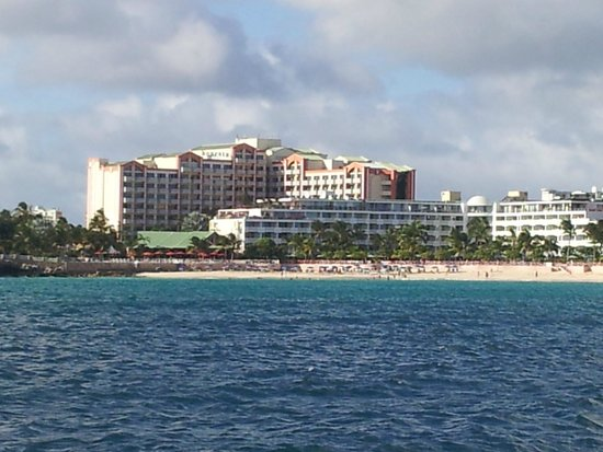Sonesta Maho Beach Resort, Casino & Spa : The hotel from out on a boat