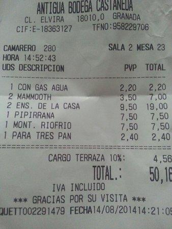 Antigua Bodega Castaneda: The insane check with a 10% of cargo terraza!