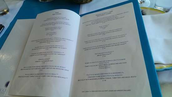 Il Riccio Beach Club & Restaurant : menu