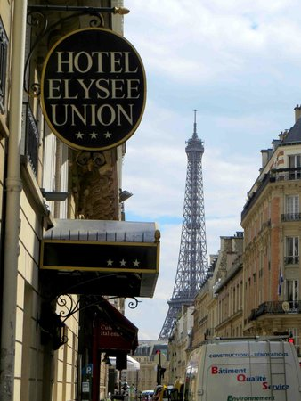 Hotel Elysees Union : Hotel entry sign