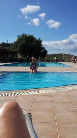Panorama village pool in morning